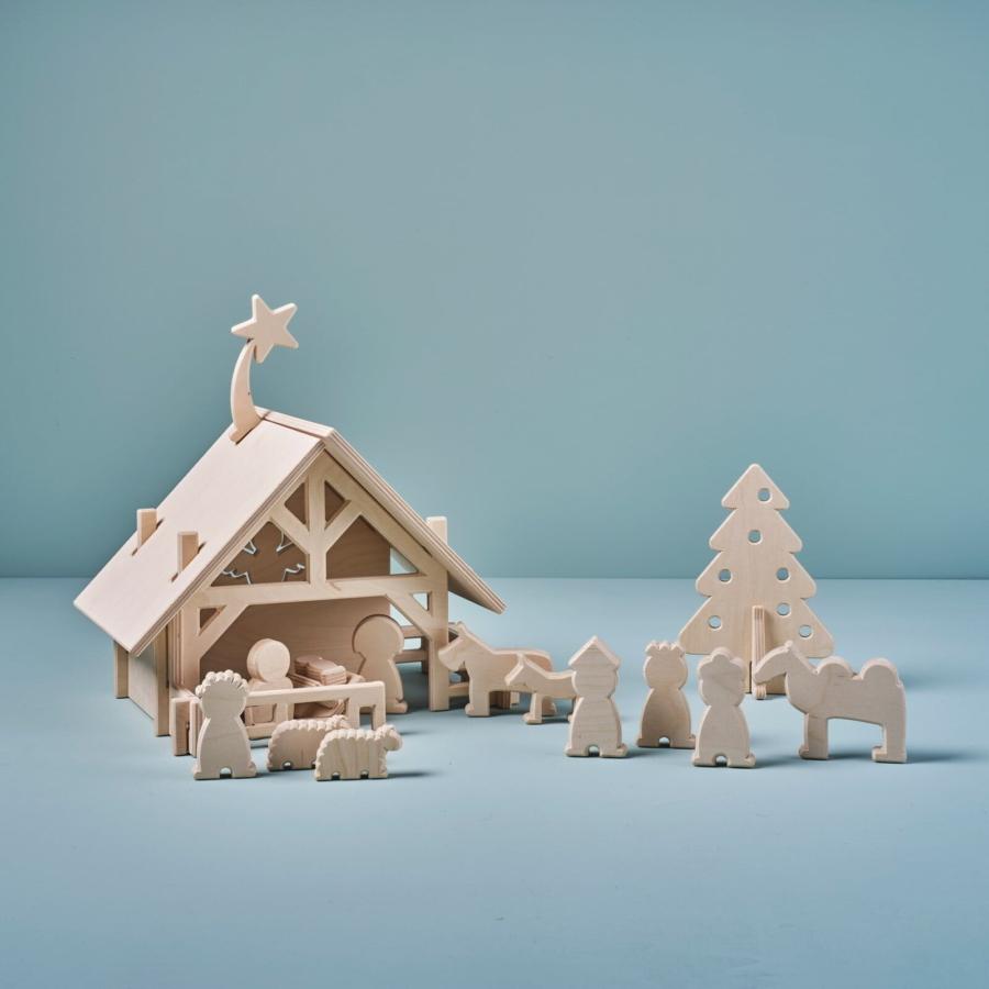 houten kerststal