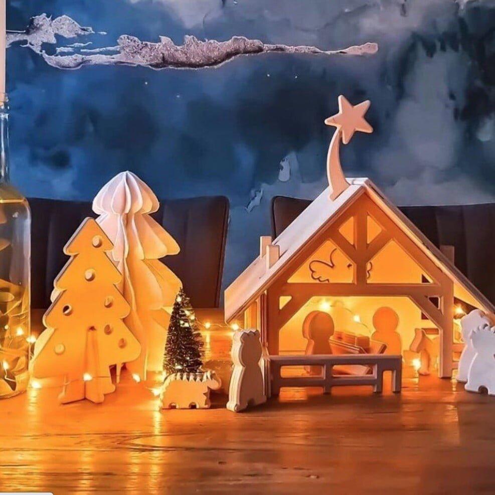 kerststal met sfeerverlichting